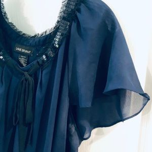 Navy Chiffon and Sequin Smock Blouse